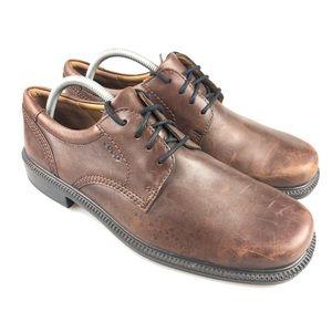 Men's Ecco Brown Leather Oxford Dress Shoe Size 42